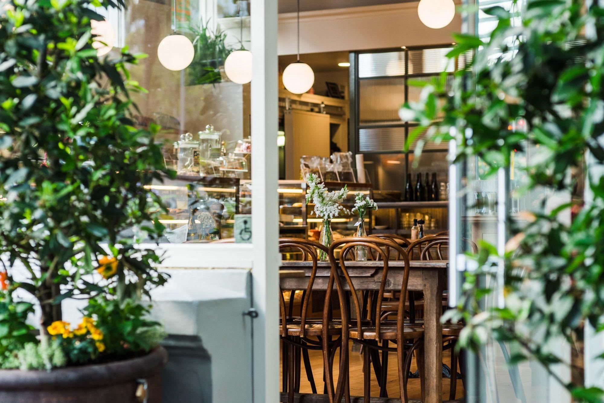 Entry into a cafe