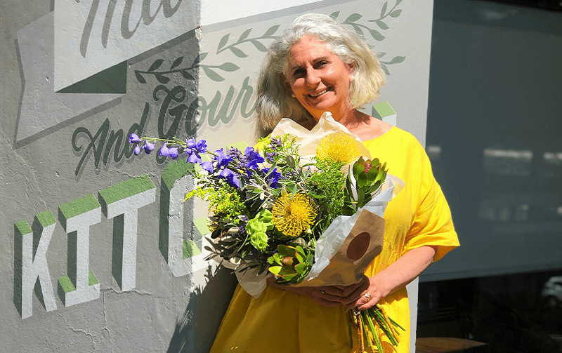 Alison with Bouquet of Flowers